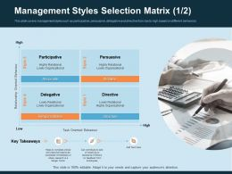 Management Styles Selection Matrix Persuasive Ppt Gallery
