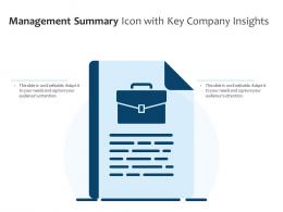 Management Summary Icon With Key Company Insights
