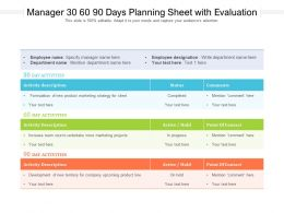 Manager 30 60 90 Days Planning Sheet With Evaluation