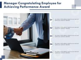 Manager Congratulating Employee For Achieving Performance Award Infographic Template