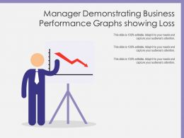 Manager Demonstrating Business Performance Graphs Showing Loss