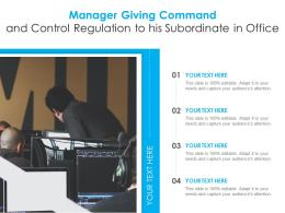 Manager Giving Command And Control Regulation To His Subordinate In Office