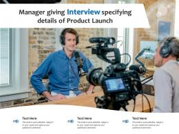 Manager Giving Interview Specifying Details Of Product Launch