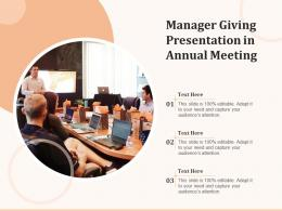 Manager Giving Presentation In Annual Meeting