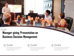 Manager Giving Presentation On Business Decision Management
