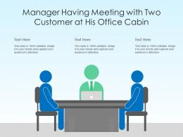 Manager Having Meeting With Two Customer At His Office Cabin