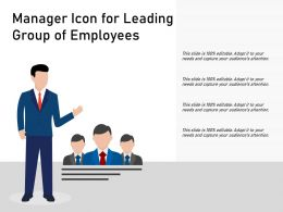 Manager Icon For Leading Group Of Employees