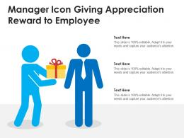 Manager Icon Giving Appreciation Reward To Employee