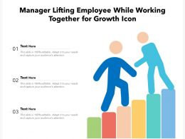 Manager Lifting Employee While Working Together For Growth Icon