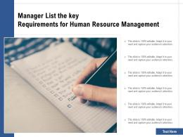 Manager List The Key Requirements For Human Resource Management