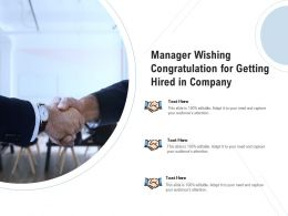 Manager Wishing Congratulation For Getting Hired In Company