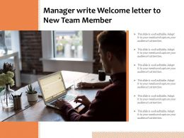 Manager Write Welcome Letter To New Team Member