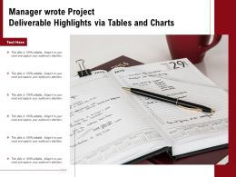 Manager Wrote Project Deliverable Highlights Via Tables And Charts