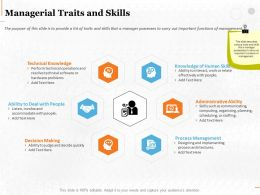 Managerial Traits And Skills Ppt Powerpoint Presentation File Introduction