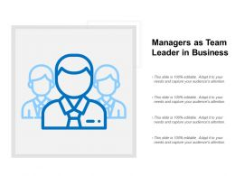 Managers As Team Leader In Business