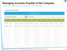 Managing Accounts Payable Of The Company Number Ppt Powerpoint Presentation File Grid