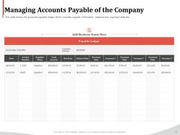 Managing Accounts Payable Of The Company Ppt Icon Designs