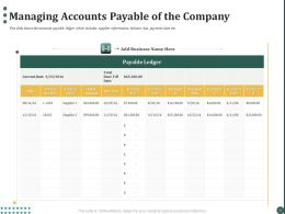 Managing Accounts Payable Of The Company Ppt Powerpoint Presentation Pictures Gridlines