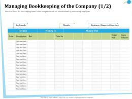 Managing Bookkeeping Of The Company M2845 Ppt Powerpoint Presentation File Icons