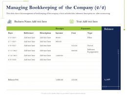 Managing Bookkeeping Of The Company Reference Ppt Powerpoint Presentation Ideas