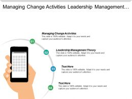 Managing Change Activities Leadership Management Theory Managing Organizational Culture Cpb