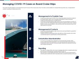 Managing COVID 19 Cases On Board Cruise Ships Ppt Powerpoint Graphic Images