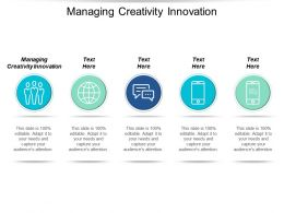 Managing Creativity Innovation Ppt Powerpoint Presentation Infographics Background Designs Cpb