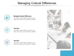 Managing Cultural Differences Ppt Powerpoint Presentation Icon Format Ideas Cpb