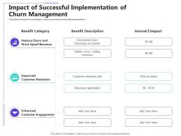 Managing Customer Retention Impact Of Successful Implementation Of Churn Management Ppt Icons