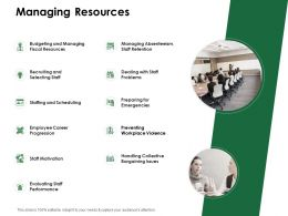 Managing Resources Staff Motivation Ppt Powerpoint Presentation File Visuals