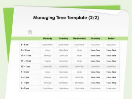 Managing Time Template Time Management Focus Ppt Powerpoint Presentation Good