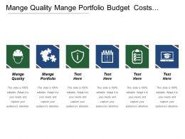 Mange Quality Mange Portfolio Budget Costs Mange Security