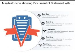 Manifesto Icon Showing Document Of Statement With Flags