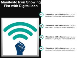 Manifesto Icon Showing Fist With Digital Icon