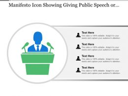 Manifesto Icon Showing Giving Public Speech Or Giving Declaration Of Statement