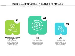 Manufacturing Company Budgeting Process Ppt Powerpoint Presentation Styles Structure Cpb