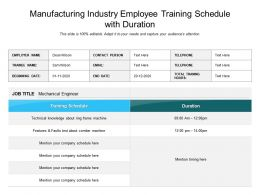Manufacturing Industry Employee Training Schedule With Duration
