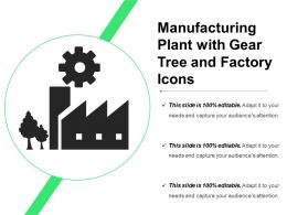 Manufacturing Plant With Gear Tree And Factory Icons