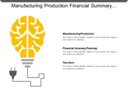 Manufacturing Production Financial Summary Planning Industry Results Analysis Portfolio