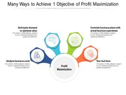 Many Ways To Achieve 1 Objective Of Profit Maximization