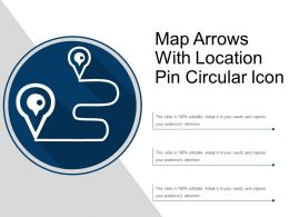 Map Arrows With Location Pin Circular Icon