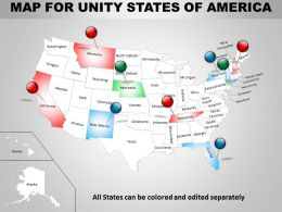 Map For United States Of America Ppt Presentation Slides