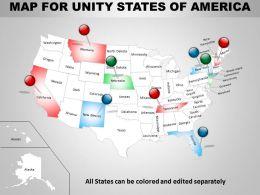 Map For United States Of America Ppt Presentation Slides