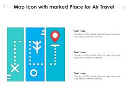 Map Icon With Marked Place For Air Travel