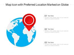 Map Icon With Preferred Location Marked On Globe