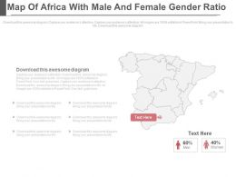 Map Of Africa With Male And Female Gender Ratio Powerpoint Slides