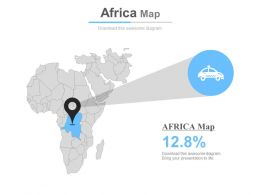 Map Of Africa With Vehicle Percentage Icons Powerpoint Slides
