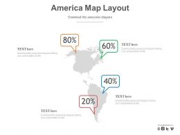 Map Of America With Percentage Layout Powerpoint Slides