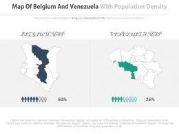 Map Of Belgium And Venezuela With Population Density Percentage Powerpoint Slides
