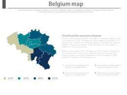 Map Of Belgium With Percentage Section Powerpoint Slides